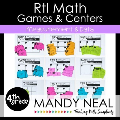 4th Grade Math Intervention Games and Centers for Measurement & Data