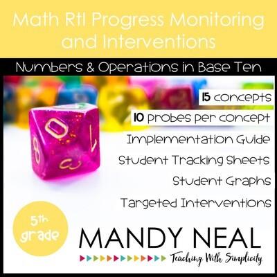 5th Grade Math Intervention Assessments & Intervention Binder NBT Bundle