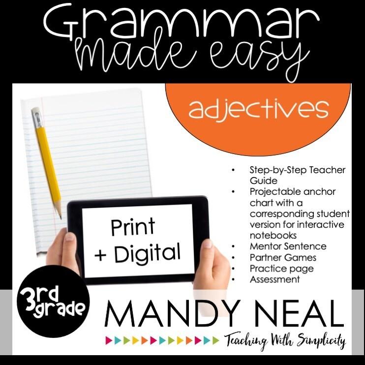 Print + Digital Third Grade Grammar Activities (Adjectives)