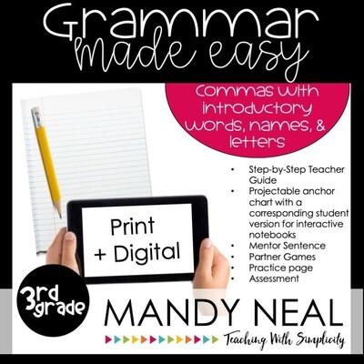 Print + Digital Third Grade Grammar Activities (Introductory Words, Names, Letters)