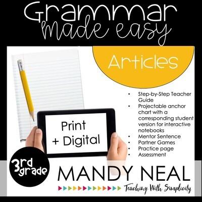 Print + Digital Third Grade Grammar Activities (Articles)