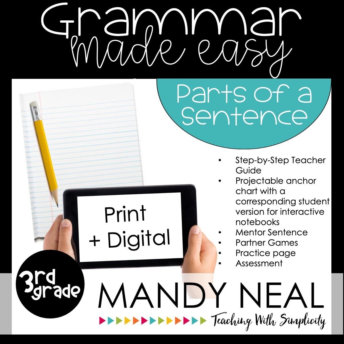 Print + Digital Third Grade Grammar Activities (Parts of a Sentence)
