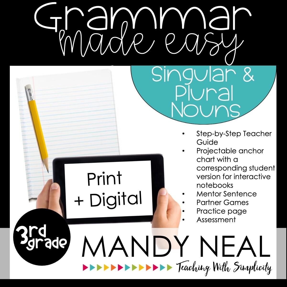 Print + Digital Third Grade Grammar Activities (Singular & Plural Nouns)