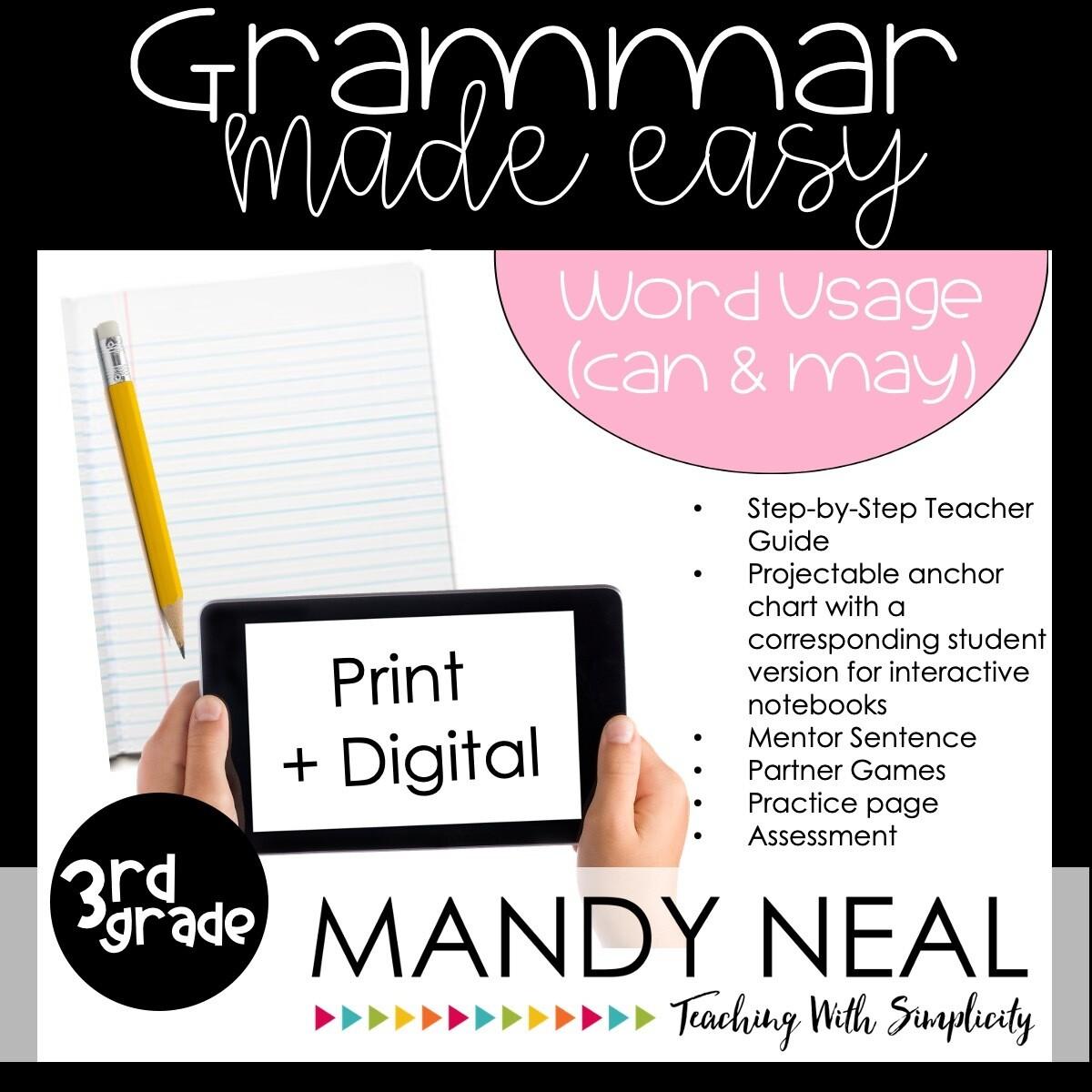 Print + Digital Third Grade Grammar Activities (Word Usage:  Can and May)