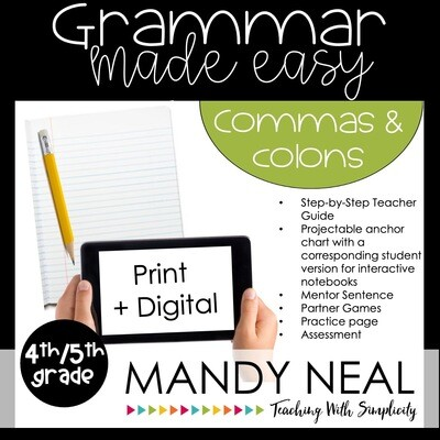 Print + Digital Fourth and Fifth Grade Grammar Activities (Commas and Colons)