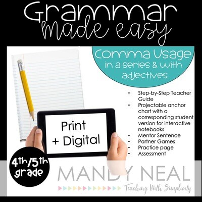 Print + Digital Fourth and Fifth Grade Grammar Activities (Commas in series & equal adjectives)