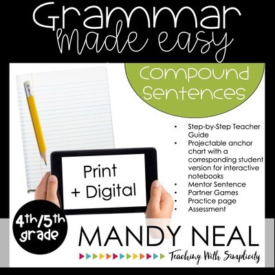Print + Digital Fourth and Fifth Grade Grammar Activities (Compound Sentences)
