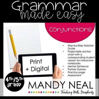 Print + Digital Fourth and Fifth Grade Grammar Activities (Conjunctions)