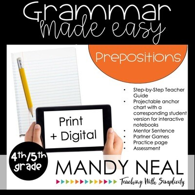Print + Digital Fourth and Fifth Grade Grammar Activities (Prepositions and Phrases)