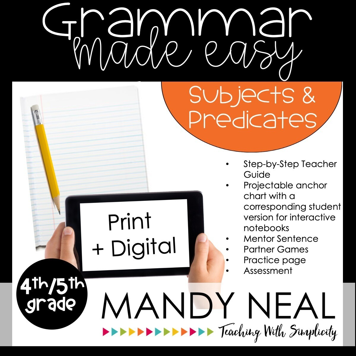 Print + Digital Fourth and Fifth Grade Grammar Activities (Subjects and Predicates)
