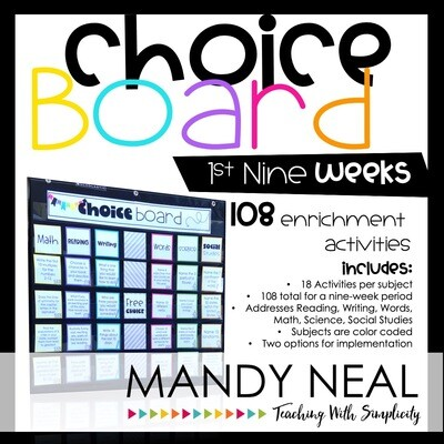 Choice Board Activities for Math, Reading, Writing, Spelling, Science (Set 1)