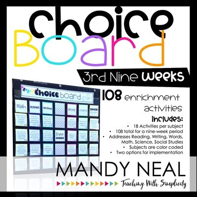 Choice Board Activities for Math, Reading, Writing, Spelling, Science (Set 3)