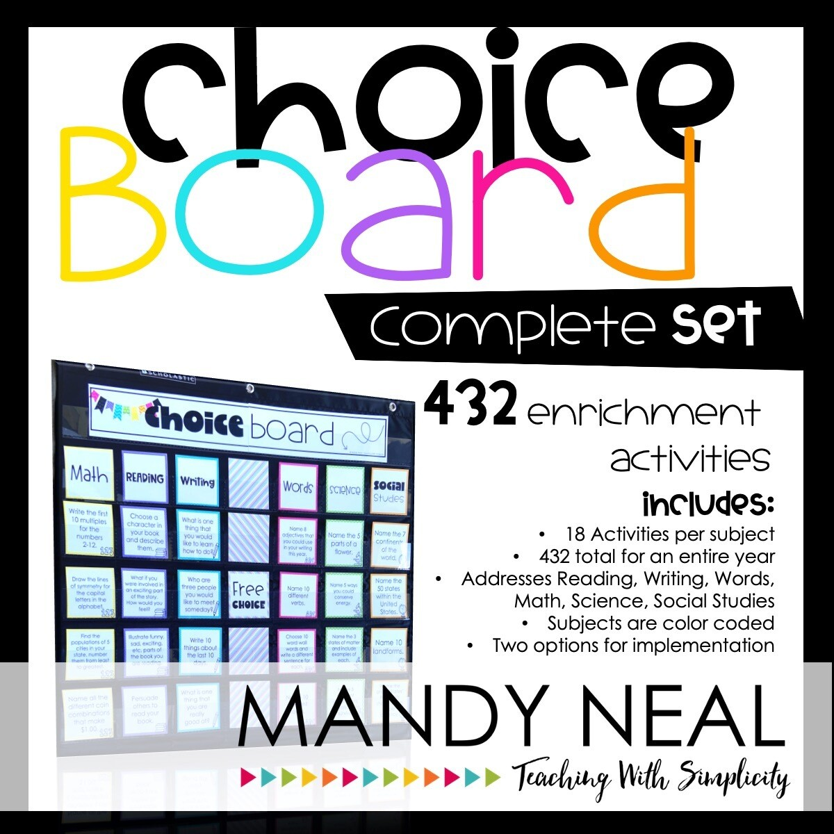 Choice Board Activities for Math, Reading, Writing, Spelling, Science (Bundle)