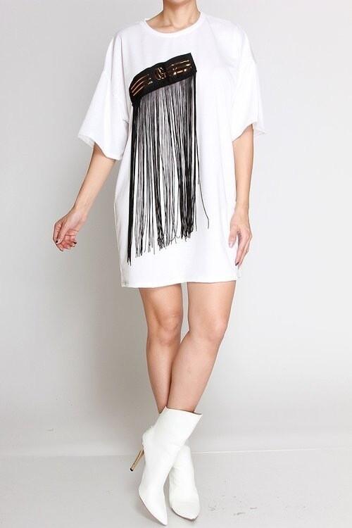 Fringe White T shirt dress