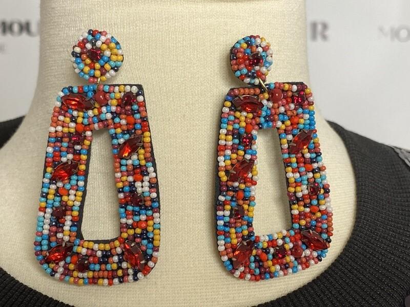 Dark multi ruby earrings