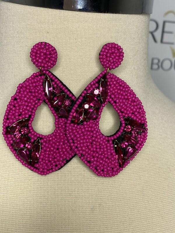 Fucshia rhinestone earrings