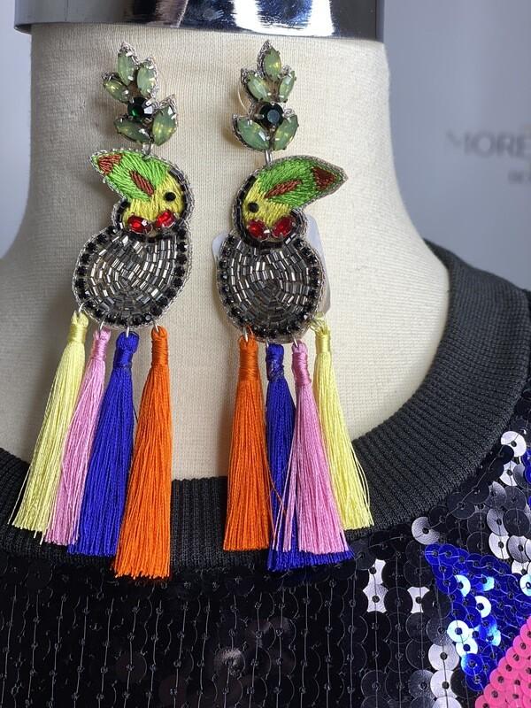 Parrot embellished earrings