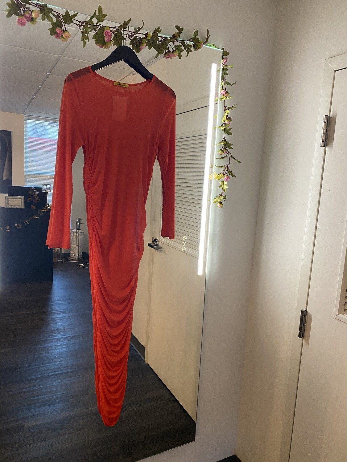 Orange di rouge sheer dress