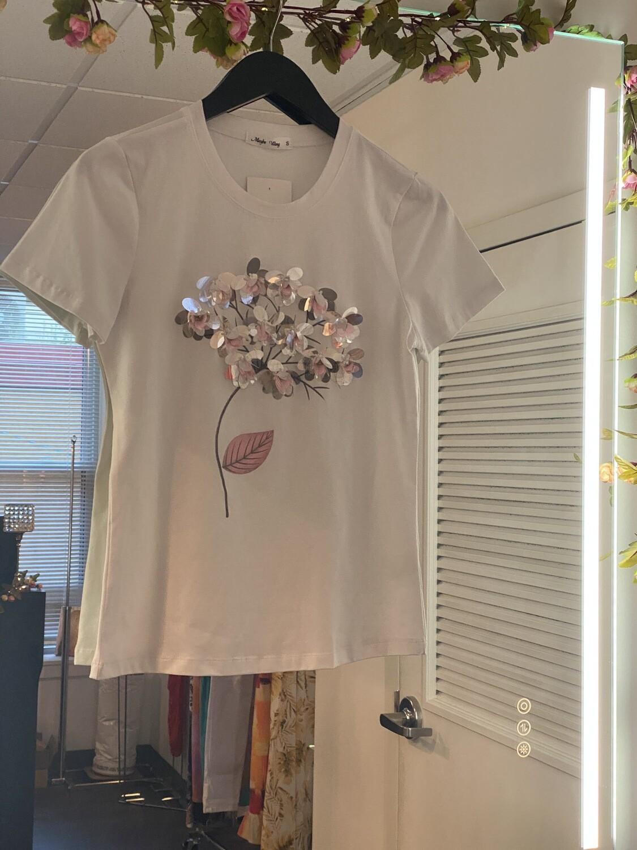 rhinestone flower t-shirt