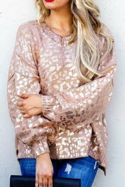 Balloon sleeve leopard sweater