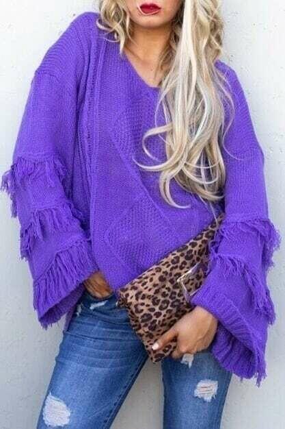 Fringe purple sweater