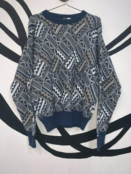 Blue Pattern Printed Sweater Size M