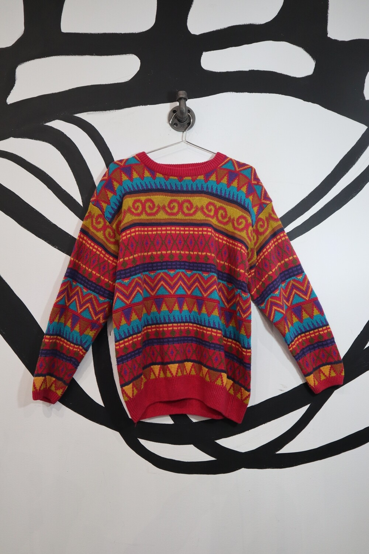 Funky Patterned Multicolor Sweater - Men's L