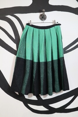 Green Block Check Pleated Skirt - Size M