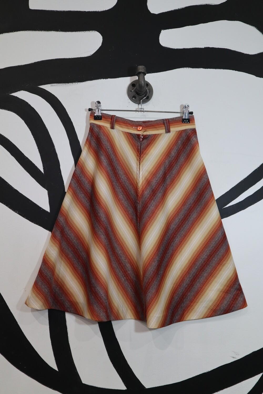 Diagonal Stripe Front Zip A-Line Skirt - Size 9/10