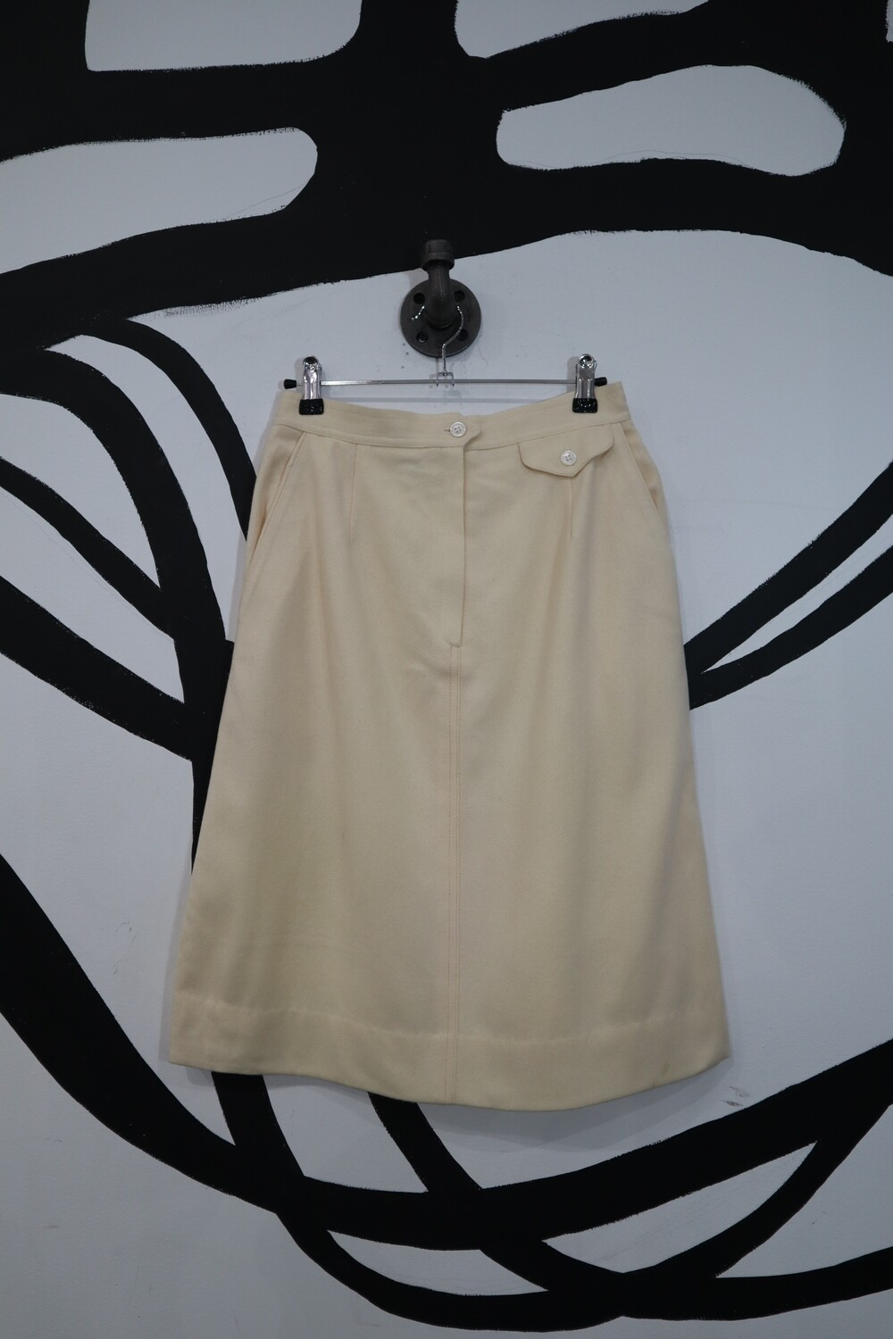 Cream Wool A-Line Skirt with Front Zip and Pockets - Size 8