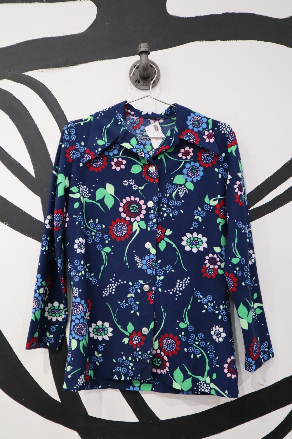 Navy 70s Statement Collar Blouse with Floral Print - Size M