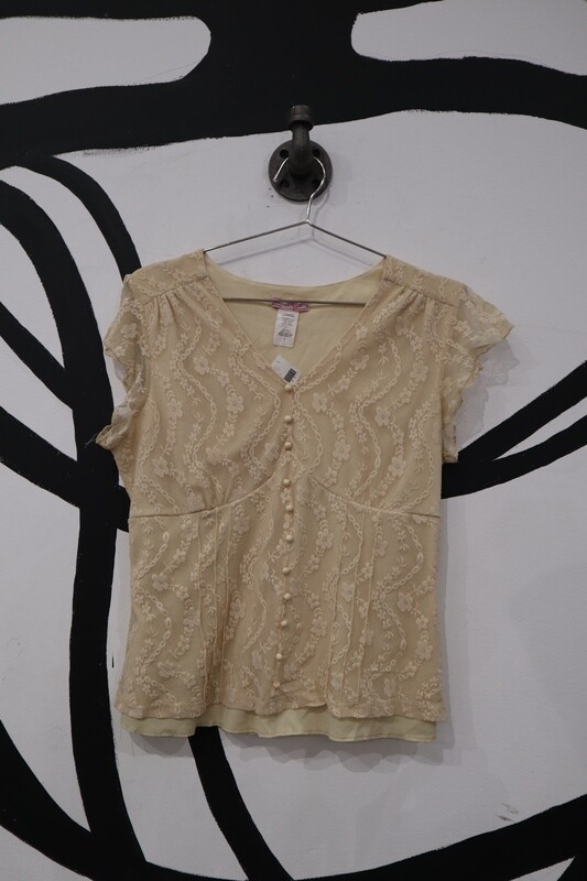 Vol. 1 Lace Overlay Cream Babydoll Top - Size L