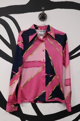 Navy and Pink Geometric and Leaf Print Top - Women's Size M