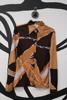 Camel, Deep Brown and Gray 70s Top with Geometric and Leaf Pattern - Size Women's M