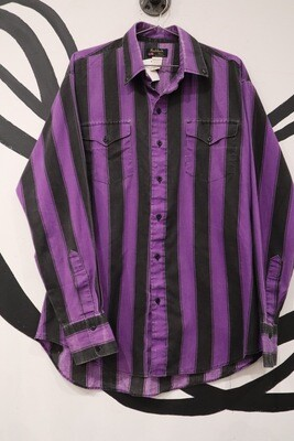 Purple and Black Vertical Strip Washed Button Down - Men's Large