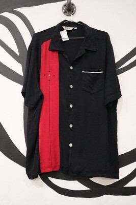 Da Vinci Black Revere Collar Top  with Red Colorblocked Stripe and Contrast Buttons - Men's XL