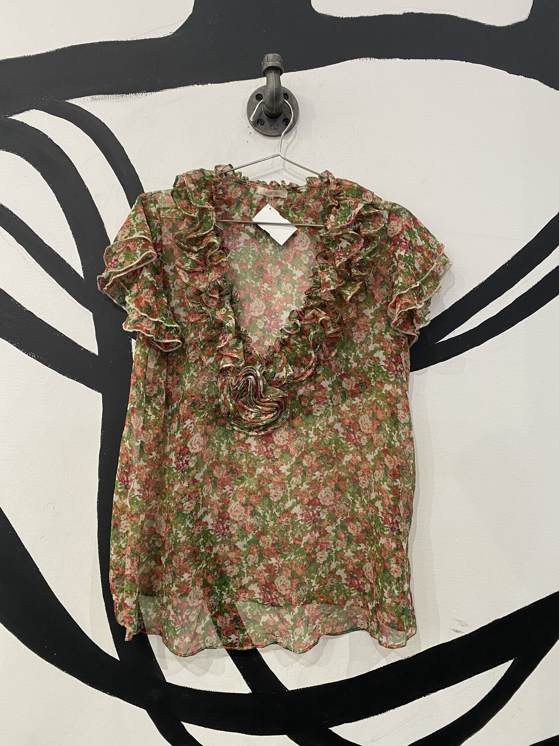 Toi et Moi Sheer Multicolored Floral Print Blouse with Ruffle Collar and Sleeves - Size M