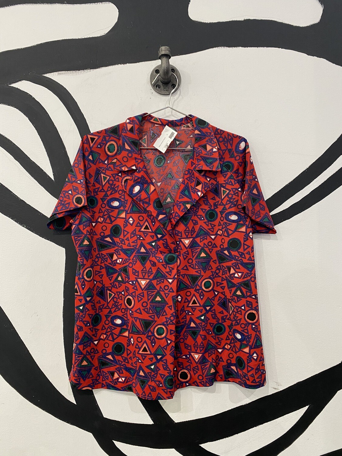 Red Revere Collar Patterned Blouse With Front Pleat Detail - Women's Size M