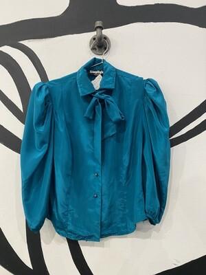 Satin Peacock Blue Top - Women's Medium