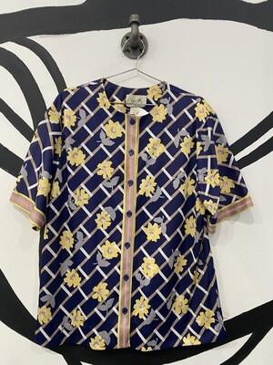 Women's 70s Patterned Short Sleeve Button-Up Blouse - Women's Size 14
