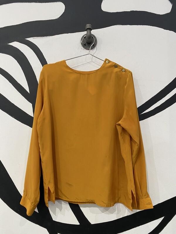 Lightweight Mustard Crewneck Long Sleeve Blouse - Women's Size 10