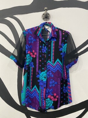 Vivid Floral Patterned Button-Up With Sheer Sleeves - Women's Size Medium.