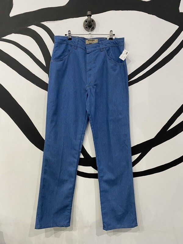 Deadstock Wrangler Authentics Blue Denim Straight Leg Slacks in Classic Blue - Size 36 x 34