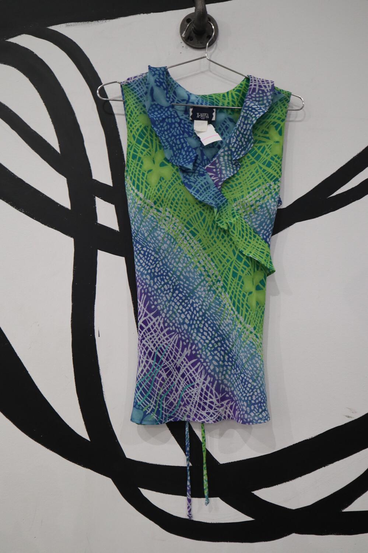 Ruffle Collar Lace Back Top- Medium