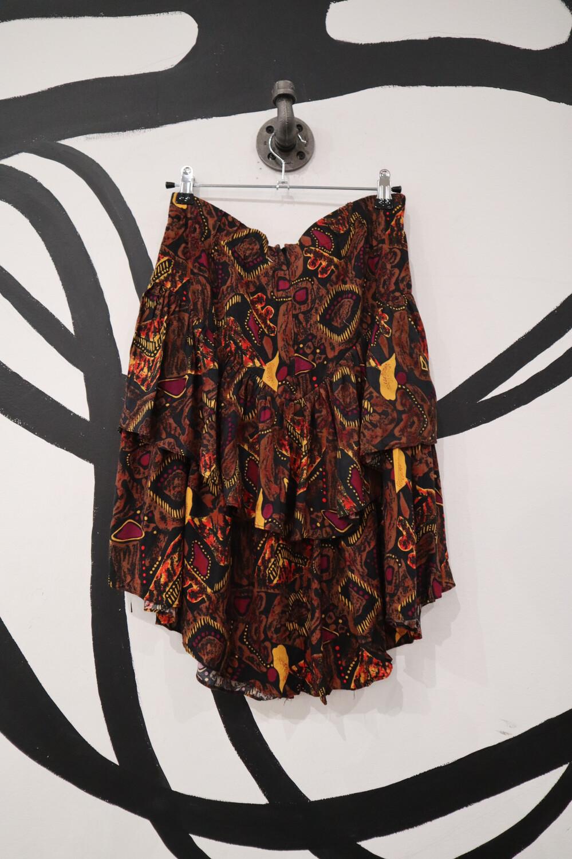 Patterned Ruffle Skirt - Size M