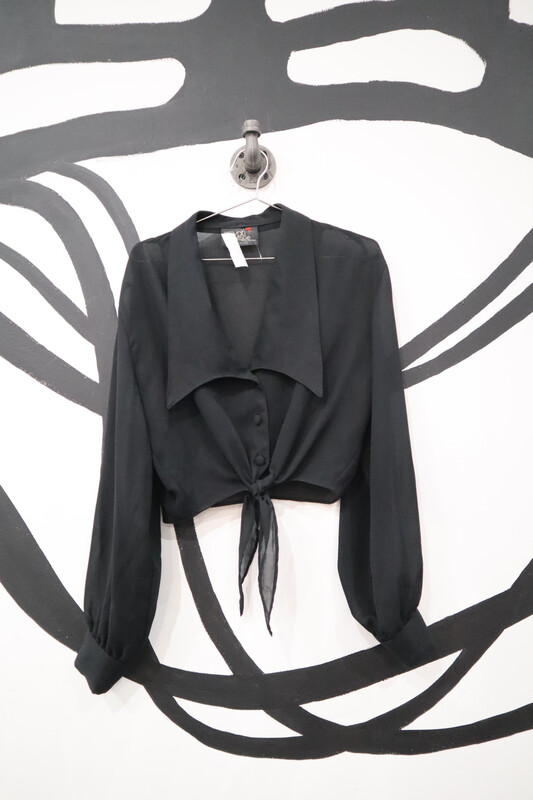 Younique Sheer Tie Front Button Up - Women's Size S