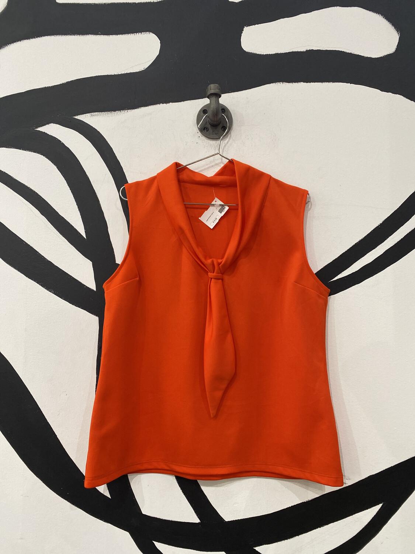 Orange Sleeveless Tie Neck Detail Blouse - Large