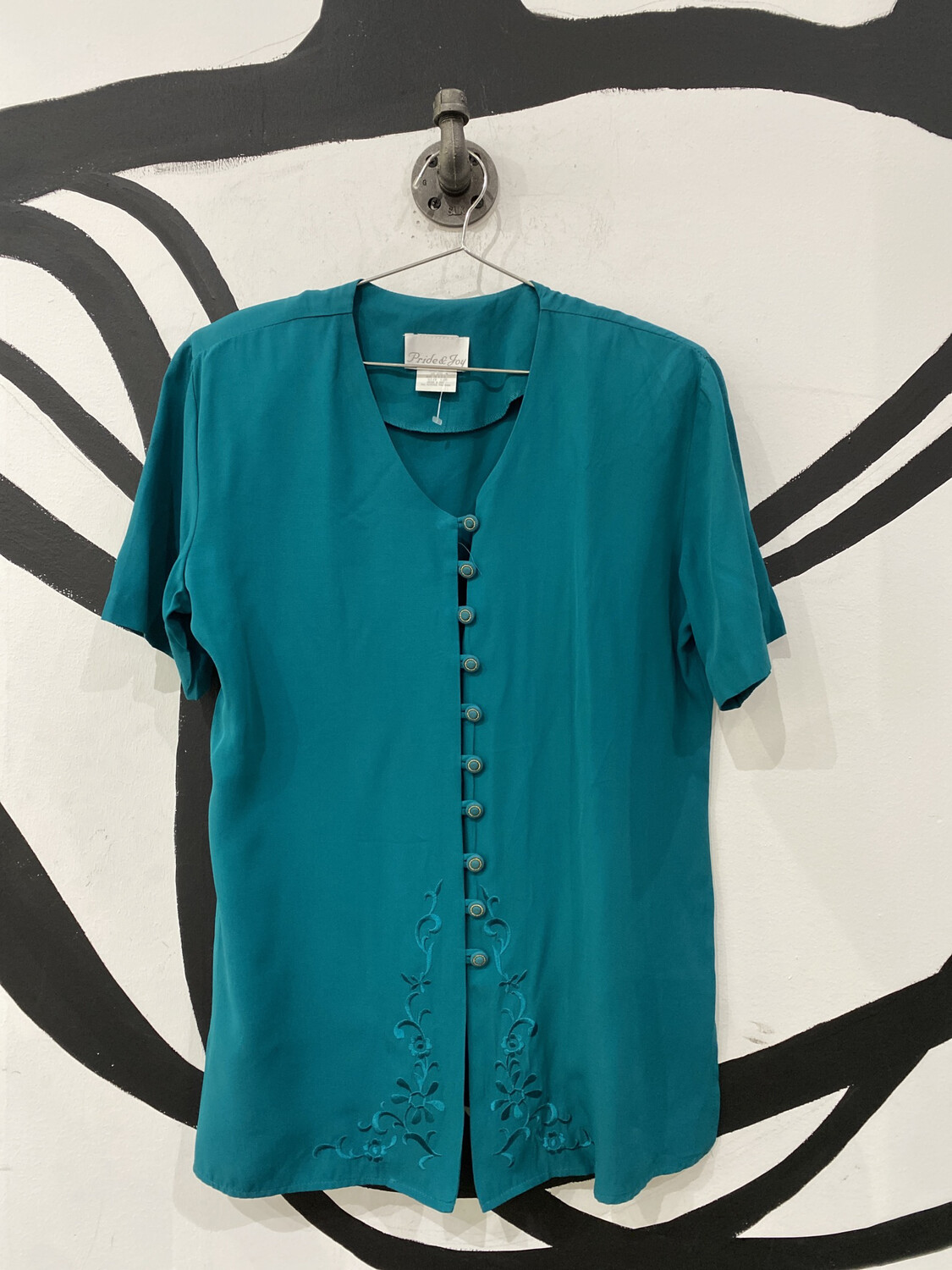 Teal Top with Embroidery Detail - Women's 12p