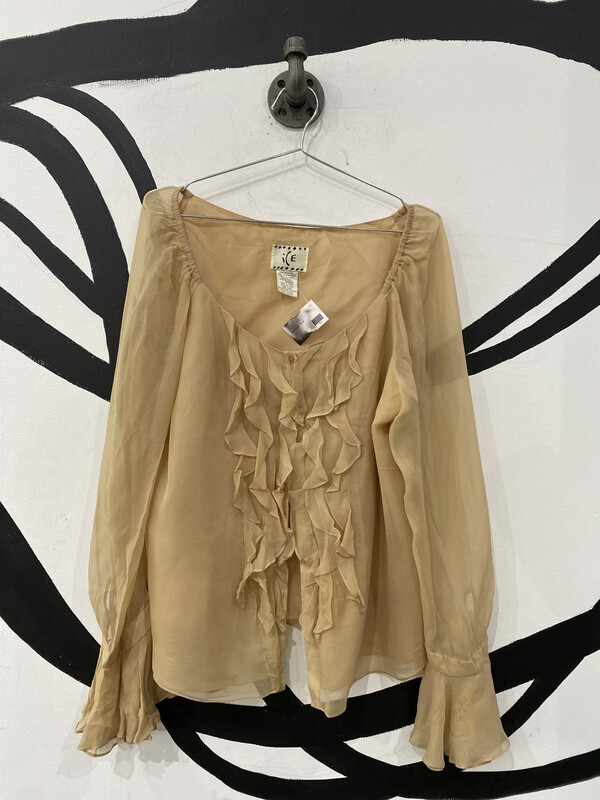 ICE Taupe Sheer Sleeve Ruffle Blouse - Size XL