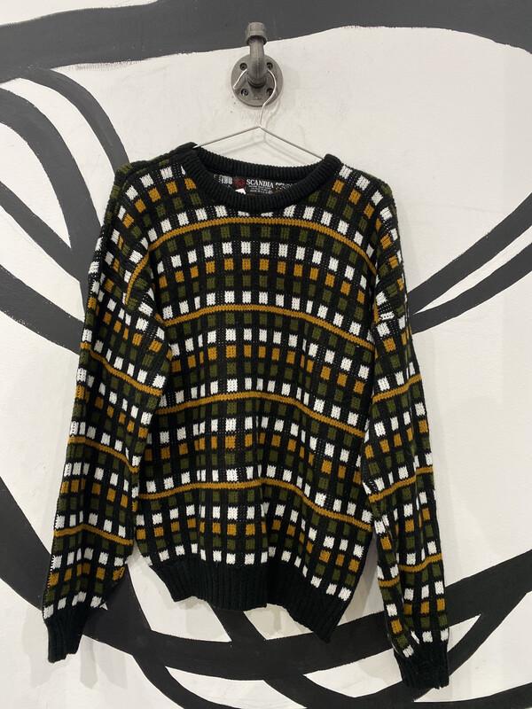 Crewneck Square Print Sweater - XL